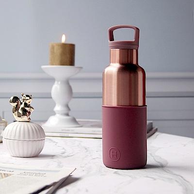 美國HYDY時尚保溫瓶_CinCin Déco酒紅-蜜粉金瓶 小容量 480ml