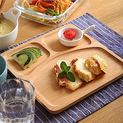 Homely Zakka 木趣食光日系木質正方型分隔餐盤