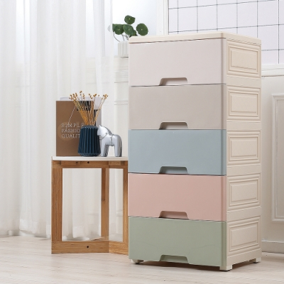 【Mr.box】42面寬-馬卡龍五層抽屜式收納櫃-附輪