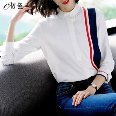 初色  撞色線條雪紡襯衫-白色-(M-2XL可選)