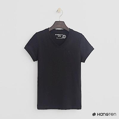Hang Ten - 女裝 - 有機棉-小V領純色T恤 - 黑