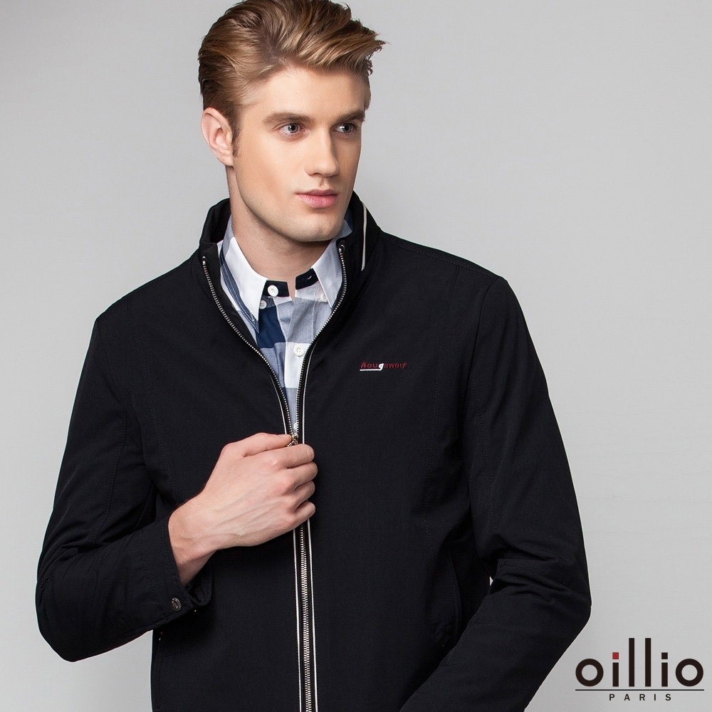 oillio歐洲貴族 休閒長袖小立領外套 素面防風款 合身顯瘦穿搭外套 黑色