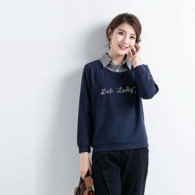 2F韓衣-韓系中大碼襯衫領假兩件拼接上衣