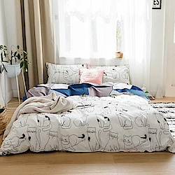 A-one 雪紡棉 單人床包/枕套 二件組 貓星人