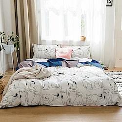 A-one 雪紡棉 雙人加大床包/枕套 三件組 貓星人