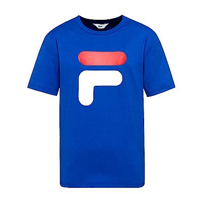 FILA  男款短袖圓領T恤-寶藍 1TET-1501-AB