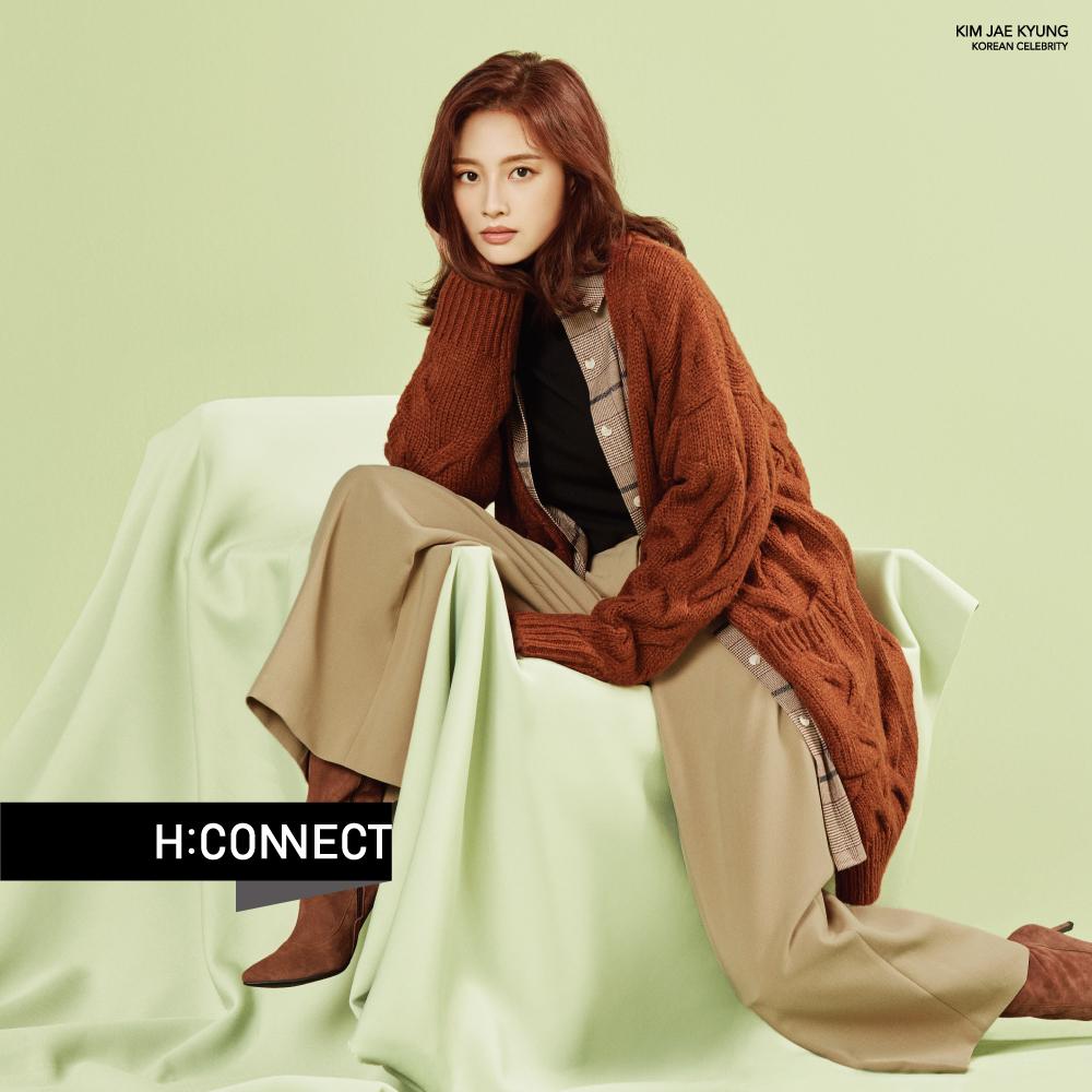 H:CONNECT 韓國品牌 女裝-格紋單口袋中長版襯衫-棕