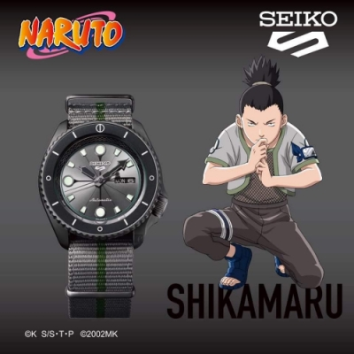 SEIKO 精工 5 Sports x 火影忍者 鹿丸 聯名限量機械錶(SRPF75K1/4R36-09G0H)-42.5mm