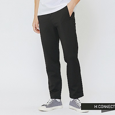 H:CONNECT 韓國品牌 男裝-抽繩鬆緊長褲-黑