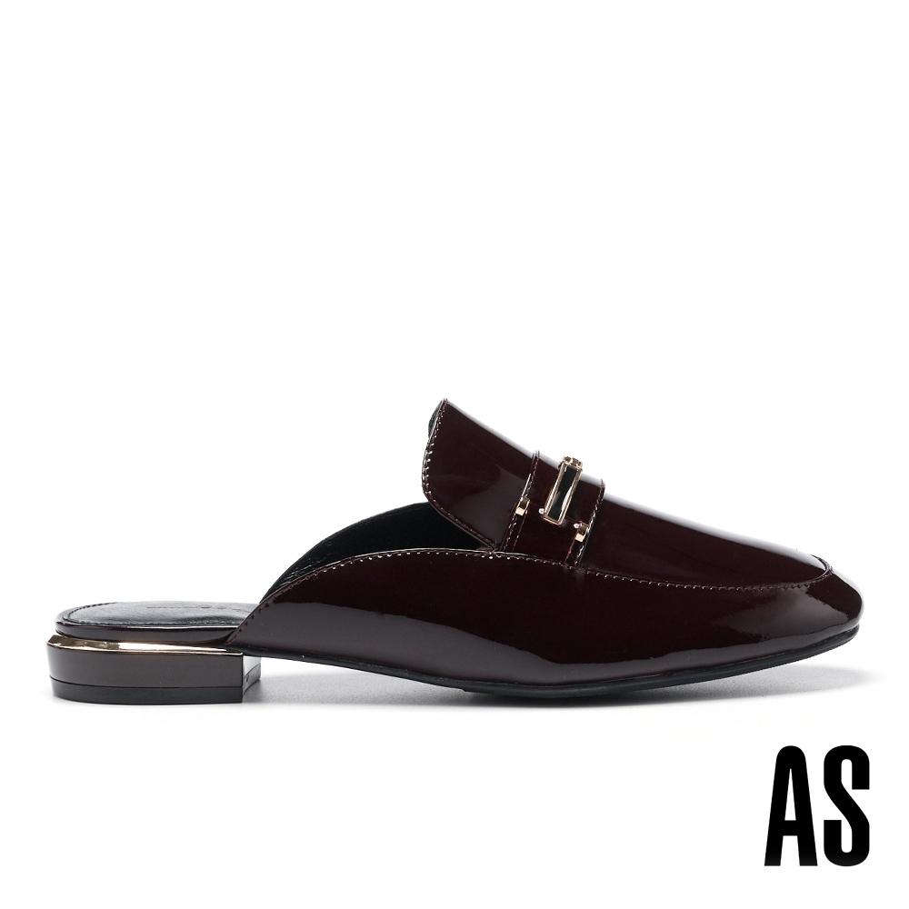 穆勒鞋 AS 摩登時髦滴油金釦全真皮方頭平底穆勒拖鞋-紅