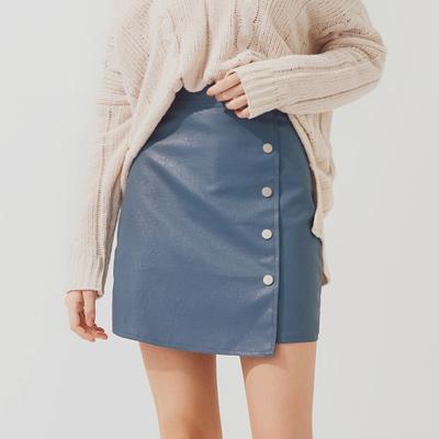 AIR SPACE 休閒排釦設計皮裙(藍)