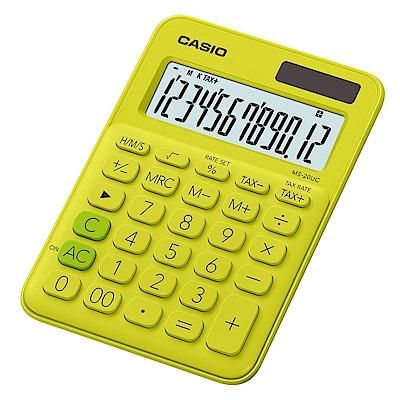 CASIO 12位元甜美馬卡龍色系攜帶型計算機(MS-20UC-YG)芥末黃