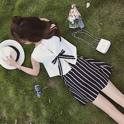 DABI 韓國風時尚小清新上衣短裙俏皮套裝無袖裙裝