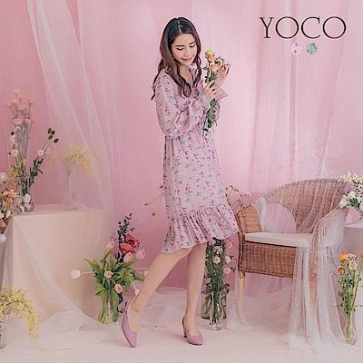 東京著衣-YOCO 春風輕拂荷葉交叉V領腰鬆緊長袖洋裝(共兩色)
