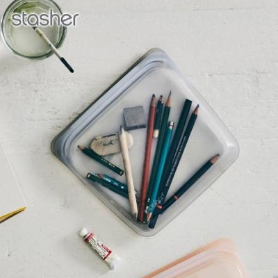 美國Stasher白金矽膠密封袋-方形(星塵灰)(快)