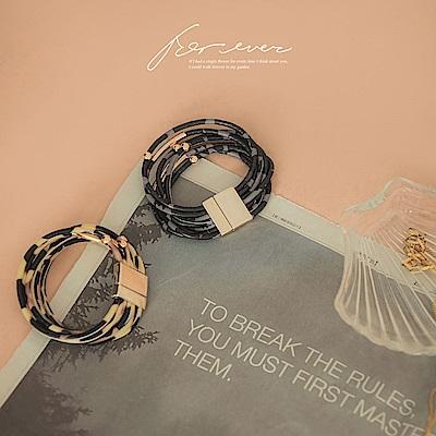 IREAL多環豹紋皮革扣環手環