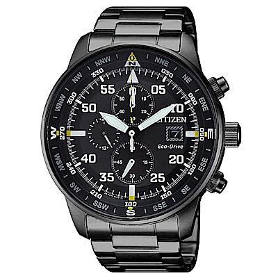 CITIZEN 星辰光動能三眼計時手錶(CA0695-84E)-黑/44mm