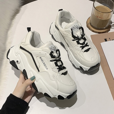 韓國KW美鞋館 巴黎NEW款厚底運動鞋-黑