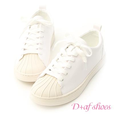D+AF 休閒舒適.奶油頭綁帶休閒鞋*白