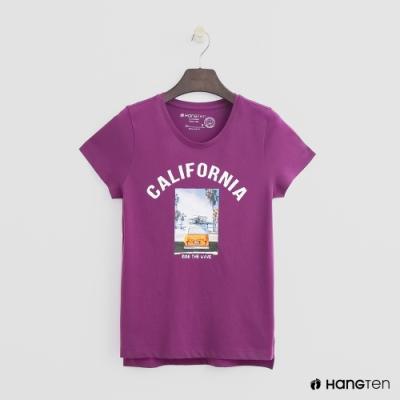 Hang Ten -女裝 - 有機棉-加州風情圖樣短T - 紫