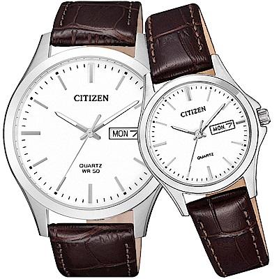 CITIZEN星辰 守護愛情經典石英對錶(BF2001-12A+EQ0591-21A)