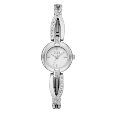 ELLE 人魚之淚晶鑽貝殼面腕錶-銀(ELL21018)/22mm
