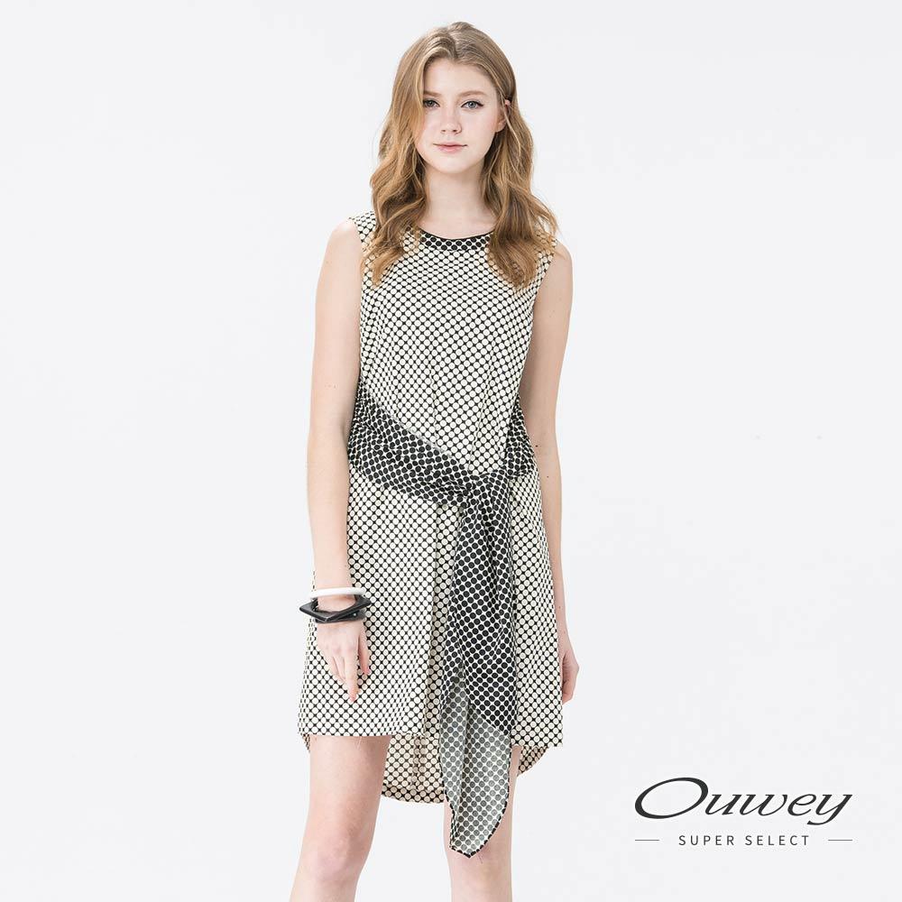 OUWEY歐薇 休閒幾何印花綁帶洋裝(白)