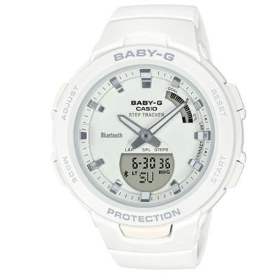 BABY-G-閃耀熱血女孩運動計步藍芽錶(BSA-B100-7A)白/49.6 mm