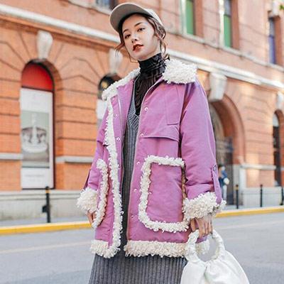 翻領撞色拼接羊羔絨外套 (紫色)-Kugi Girl