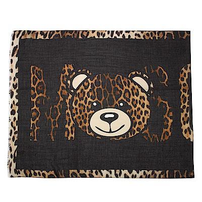 MOSCHINO 經典TOY小熊 豹紋飾邊莫代爾混絲薄圍巾-黑/咖啡色