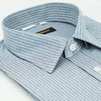 金‧安德森 灰白格紋窄版短袖襯衫fast