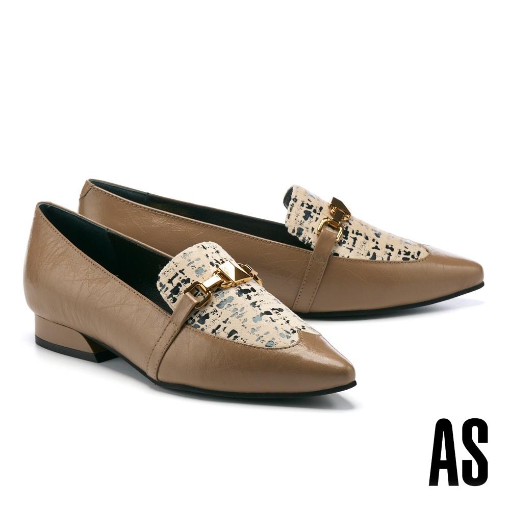低跟鞋 AS 復古時髦異材質拼接牛油皮尖頭樂福低跟鞋-杏