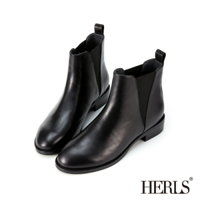 HERLS短靴-全真皮素面V型鬆緊切爾西圓頭粗跟短靴-黑色