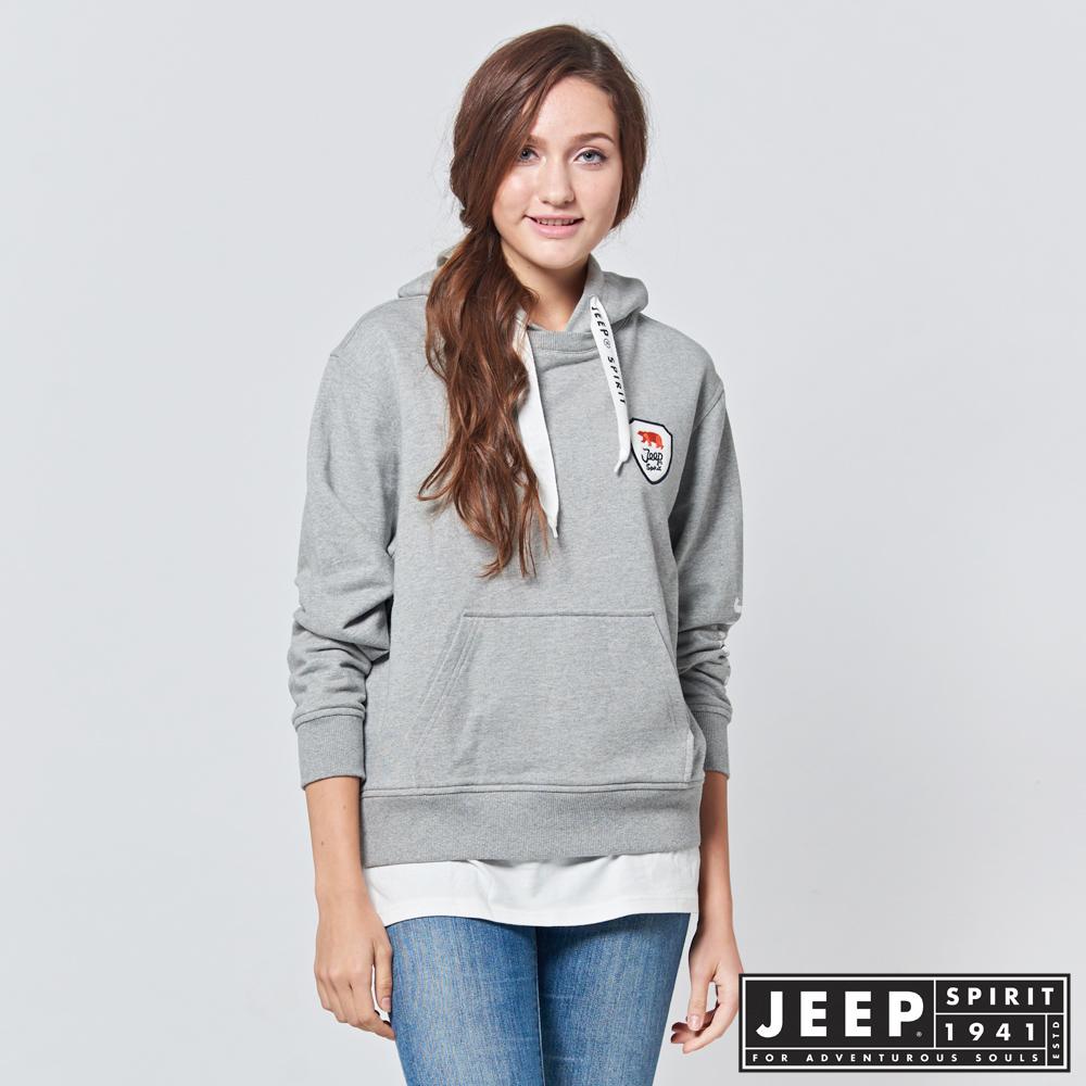 JEEP 女裝 美式休閒假兩件式長袖帽TEE -灰色