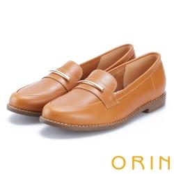 ORIN 金屬飾條牛皮樂福鞋 棕色