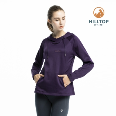 【hilltop山頂鳥】女款ZISOFIT保暖吸濕抗菌刷毛上衣PH51XFI8ECJ0黑紫傘