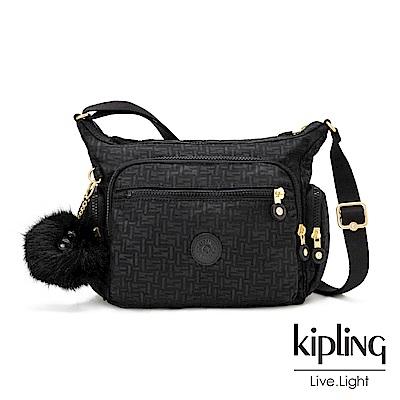 Kipling黑色幾何紋路多袋實用側背包-GABBIE S
