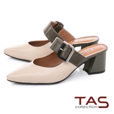 TAS大方金屬飾釦涼拖鞋-人氣米