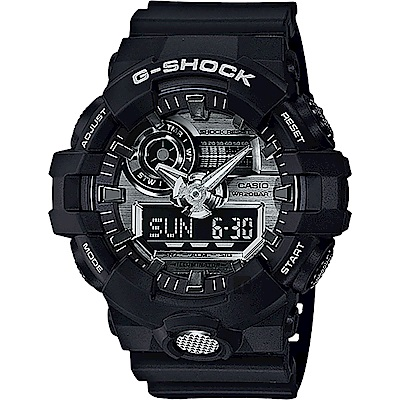 G-SHOCK金屬系雙顯手錶-銀x黑GA-710-1A
