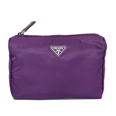 PRADA經典三角飾牌尼龍上拉鍊化妝包(紫色/中款)