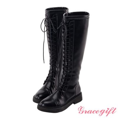 Grace gift-個性馬甲綁帶長靴 黑