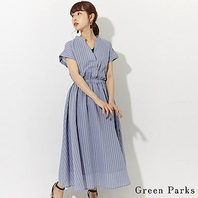 Green Parks 優雅條紋V領連身長裙