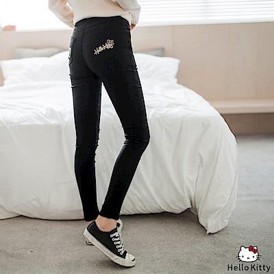 HELLO KITTY燙金印花內刷毛鬆緊窄管褲.3色-OB大尺碼