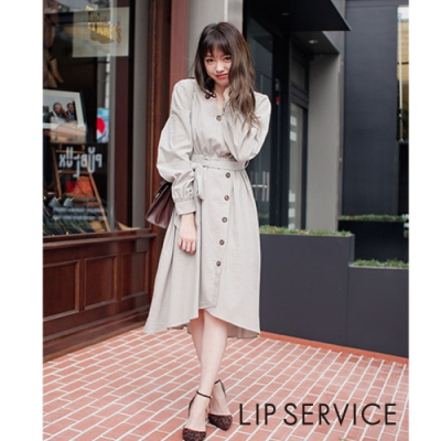 LIP SERVICE 典雅魅力長袖綁帶洋裝 (3色)