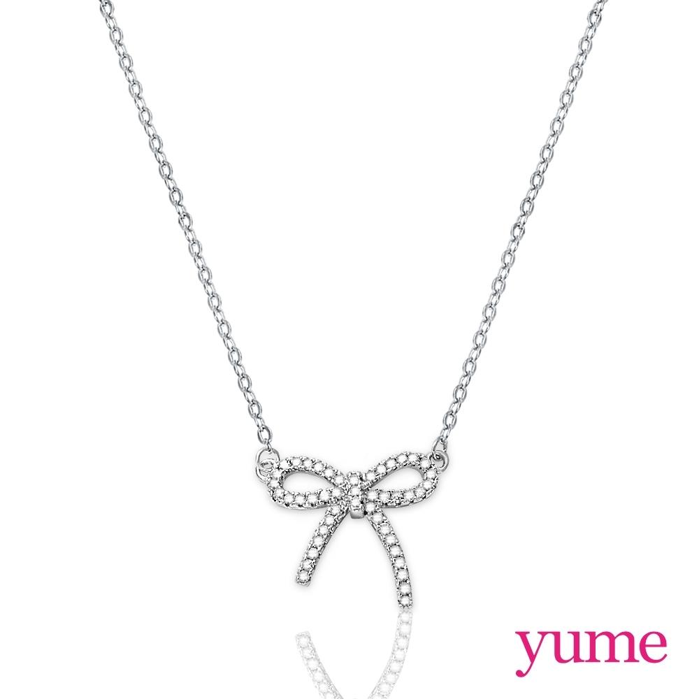 YUME 緞帶蝴蝶結滿鑽項鍊