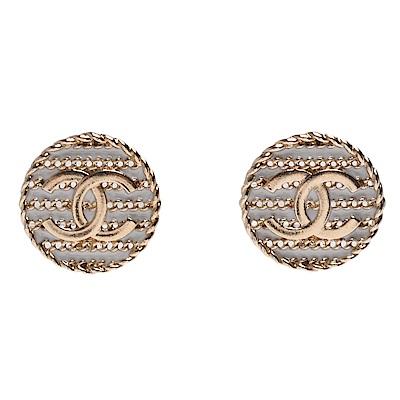 CHANEL 香奈兒經典CC LOGO白色琺瑯圓形造型穿式耳環(金)