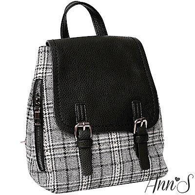 Ann'S英國學院風-質感異材質毛尼格紋後背包-黑