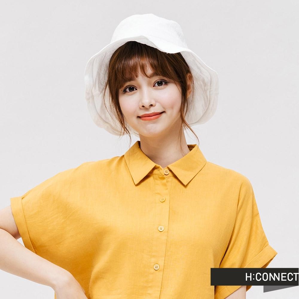 H:CONNECT 韓國品牌 配件 -logo造型漁夫帽-白