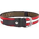 BALLY COPPER 雙D釦環皮帶(軍綠/紅白條紋)