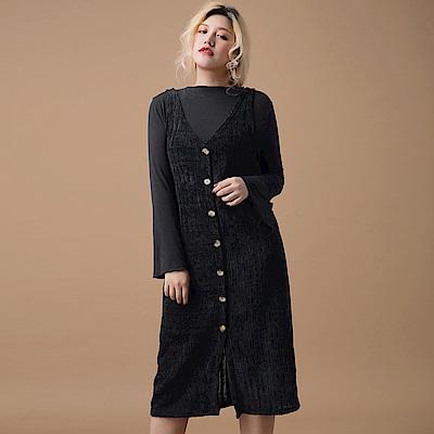 AIR SPACE LADY 中大尺碼 大V領排釦天鵝絨背心洋裝(黑)